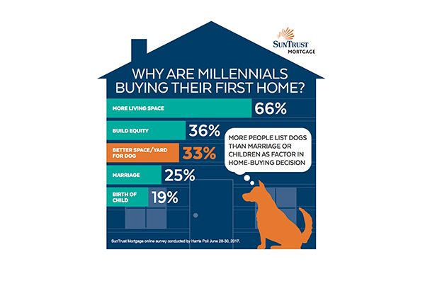 Stats show that more millennials are buying homes for their dogs. Infographic courtesy SunTrust Mortgage.