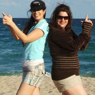 Sisters - Andrea and Jennifer doing Charlie's Angels pose