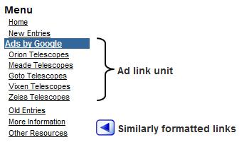 Formatting links to mimic ads