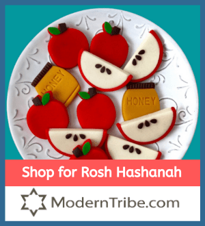 Shop for Rosh Hashanah - ModernTribe.com. Image of cookies on platter, cookies shaped like apple slices, apples, and honey jars