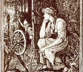 Can you spin straw into gold? An illustration for Rumplestilskin from The Blue Fairy Book by Andrew Lang.