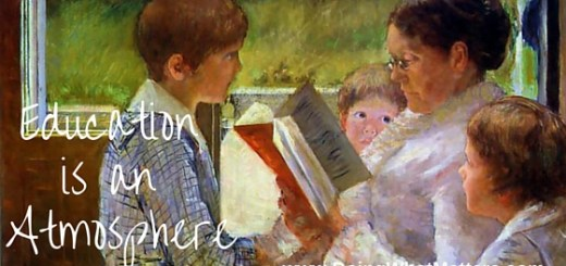 Education is an atmosphere;, illustrated by a Mary Cassatt image.