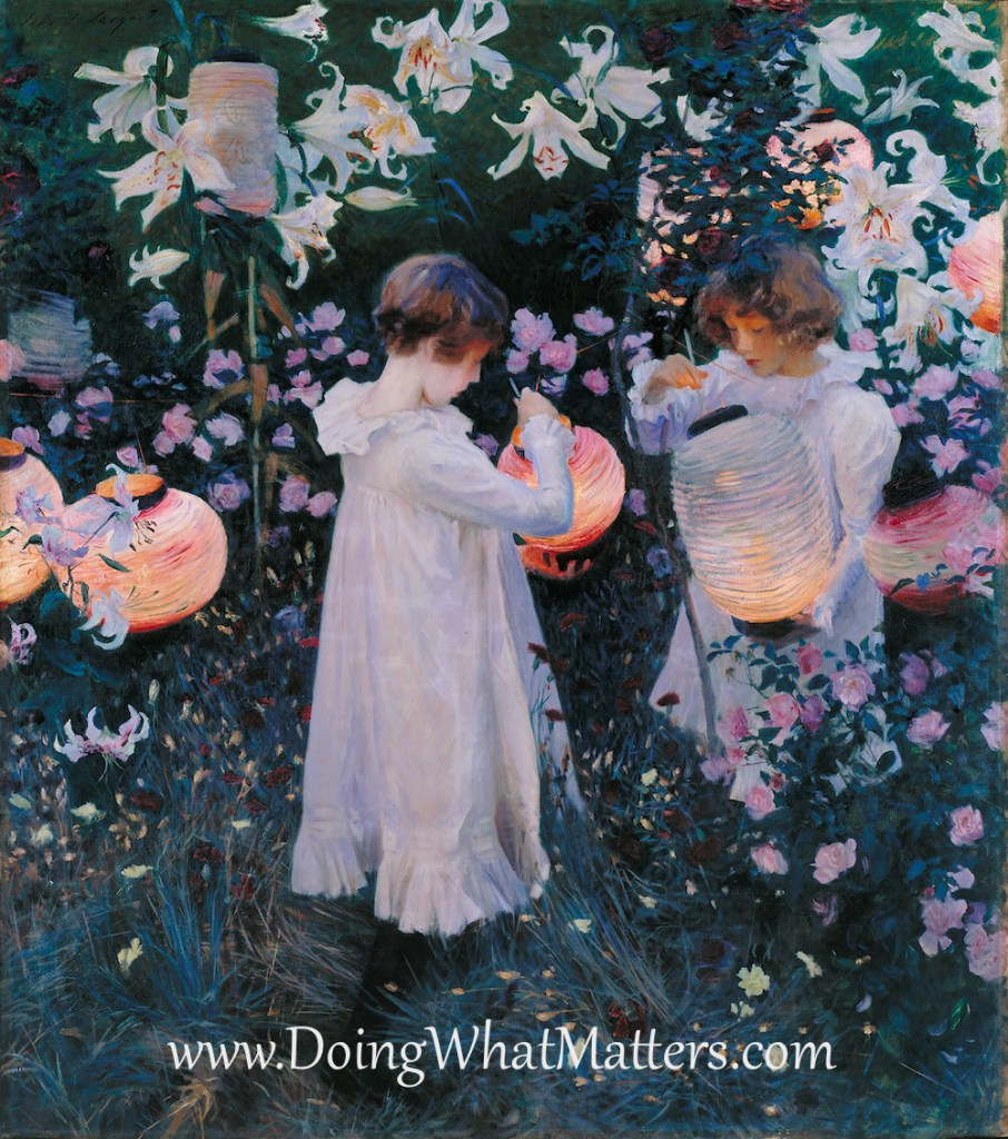 Children outside in art — Carnation, Lily, Lily, Rose by John Singer Sargent