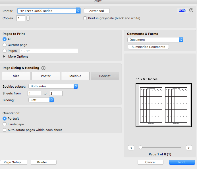 Printer settings for printing the planner calendar on an inkjet printer.