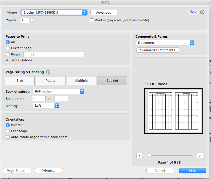 Settings for printing the planner calendar on a laser printer.