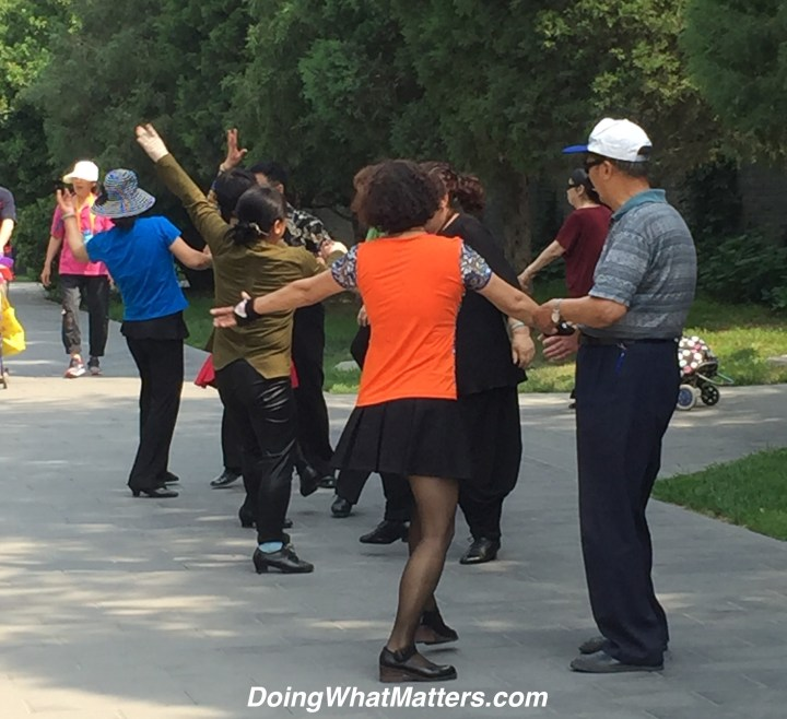 Dancing in the park at the Temple of Heaven.