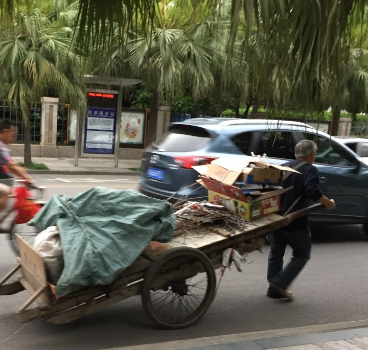 A modern rickshaw in China.