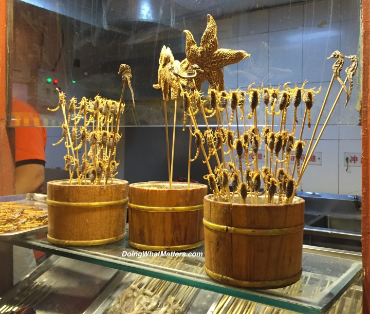 Scorpions, sea stars, and seahorses on a stick.