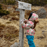 Amélie looks at the sign for The Pulpit