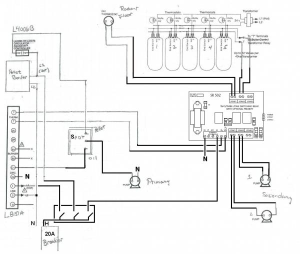 wiring for primary/secondary loops with l8151a relay