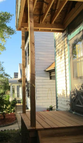 wrapping porch posts in 1x pine