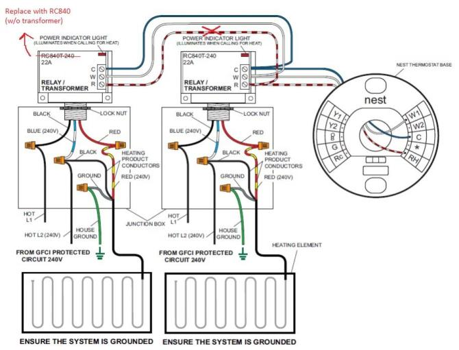 connecting nest to 240v electric heating relays