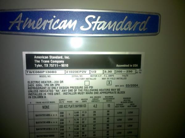 Manual For American Standard Heat Pump