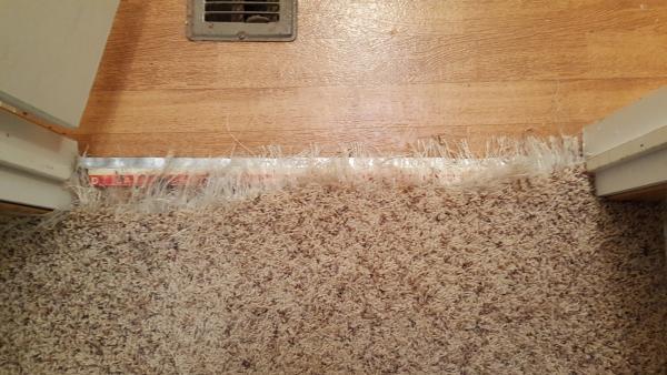 repairing shredded carpet to tile