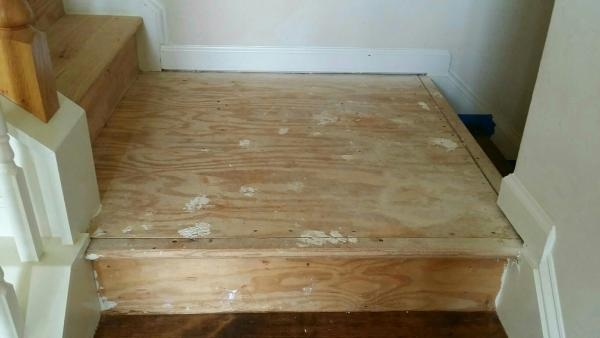 Landing With Existing Bullnose Doityourself Com Community Forums | Installing Hardwood Stairs Over Existing Stairs | Prefinished Stair | Stair Tread Caps | Carpeted Stairs | Wood Flooring | Treads