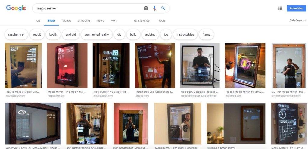 Ansicht der Google Suche nach Magic Mirror.