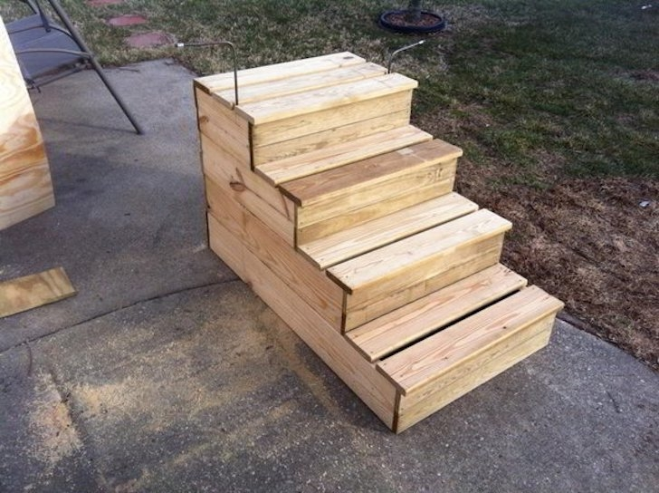 Unique Wooden Portable Steps For Your Travel Trailer | Wooden Stairs For Mobile Home | Pre Built | Prefabricated | Simple | Wood Camper | Patio