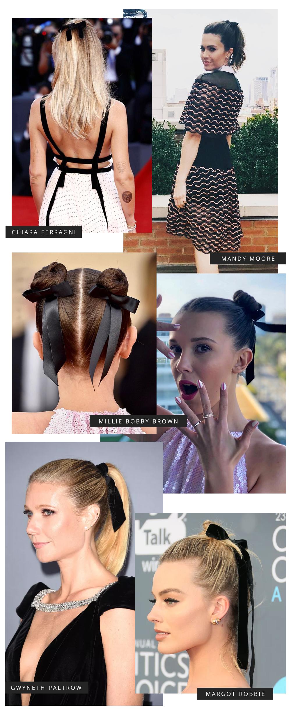 laço de veludo no cabelo
