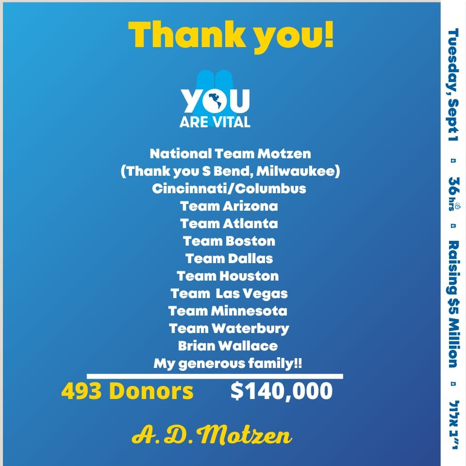 Thank you from Agudath Israel of America 1