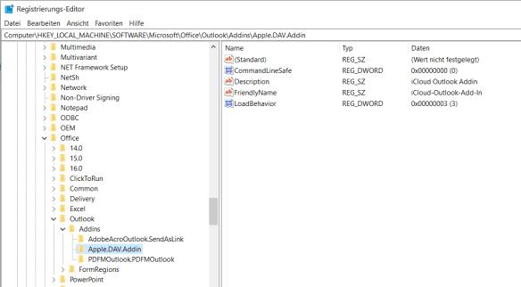 Registry-Einstellungen für das DAV/Apple iCloud-Plugin.