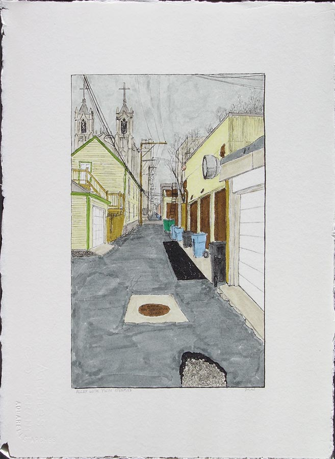 Alley with Twin Steeples