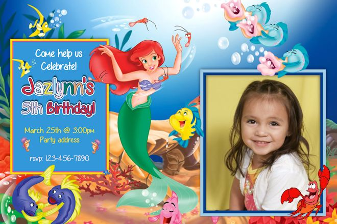 Little Mermaid Birthday Party Invitations Dolanpedia Invitations Template