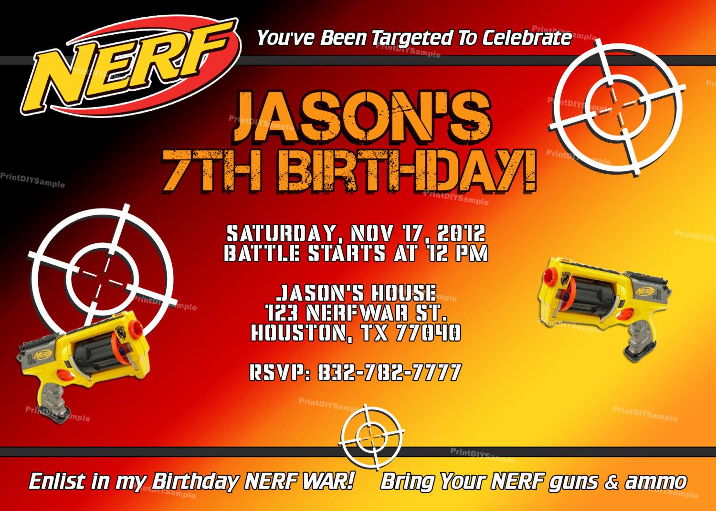 nerf gun birthday party invitations