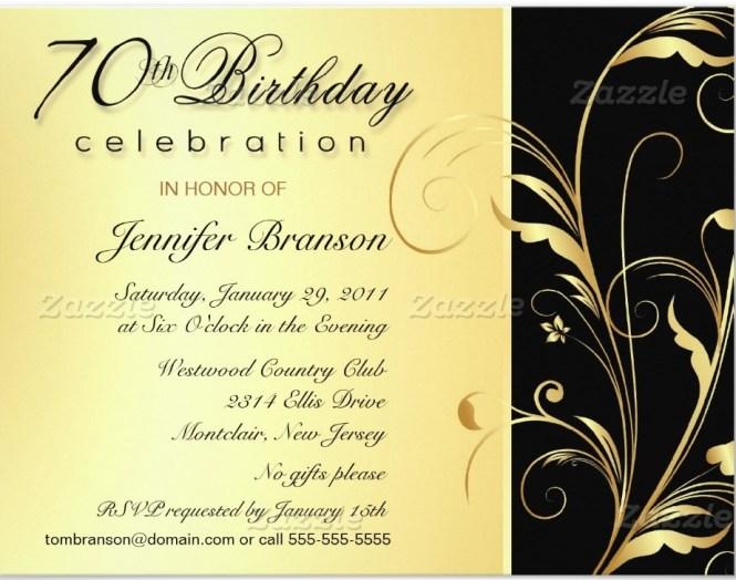 70 Birthday Invitation Wording
