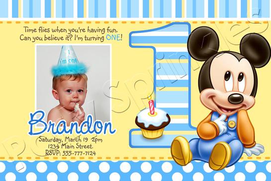 1st birthday mickey mouse invitations