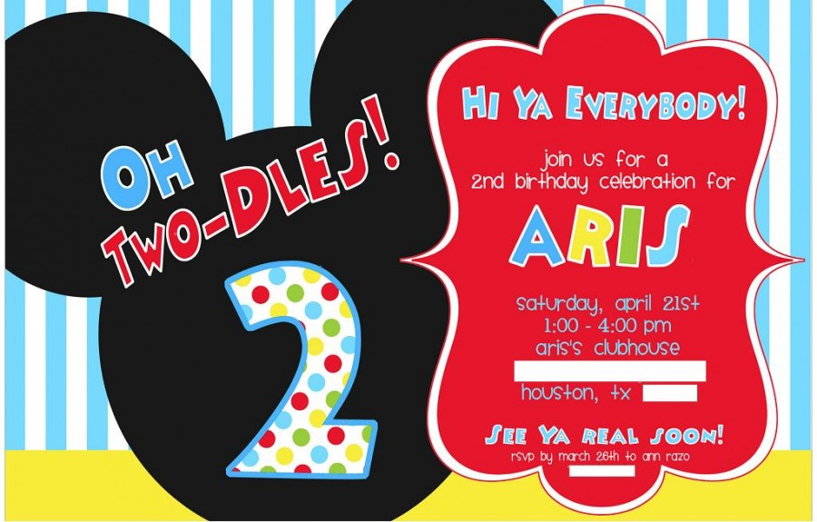 mickey mouse 2nd birthday invitations