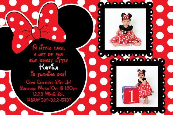 minnie mouse birthday invitations etsy