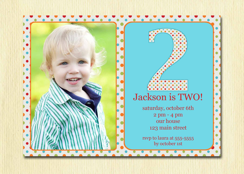 2 year old birthday party invitation