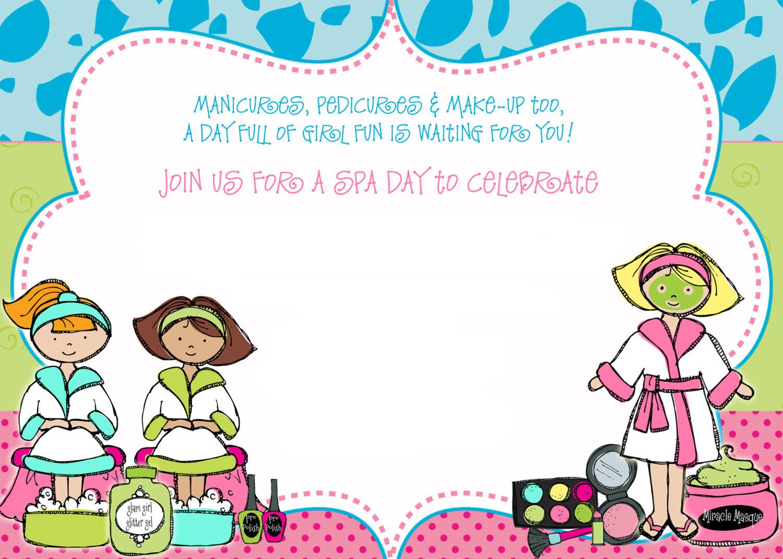 free spa party birthday invitation