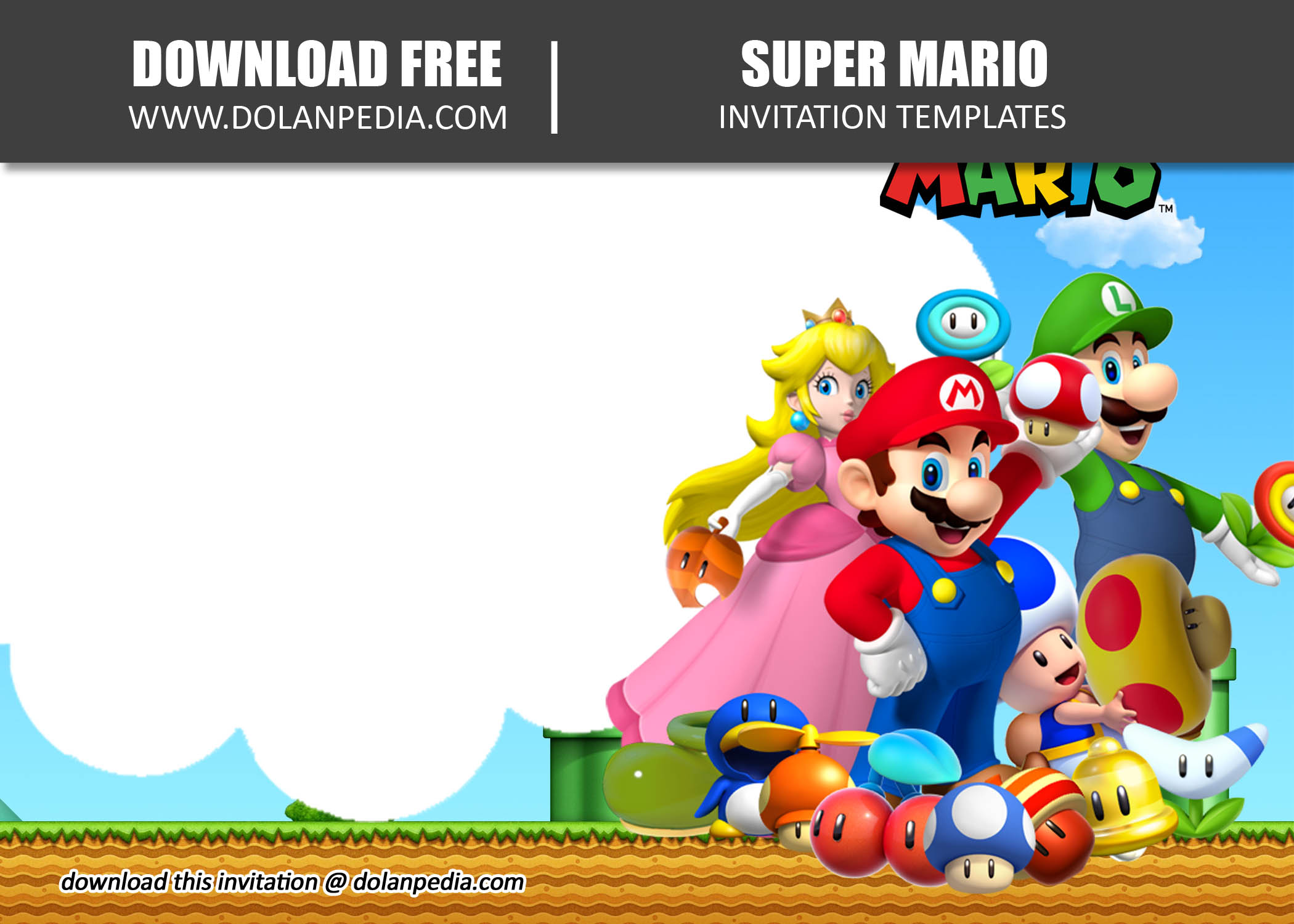 free printable super mario invitation