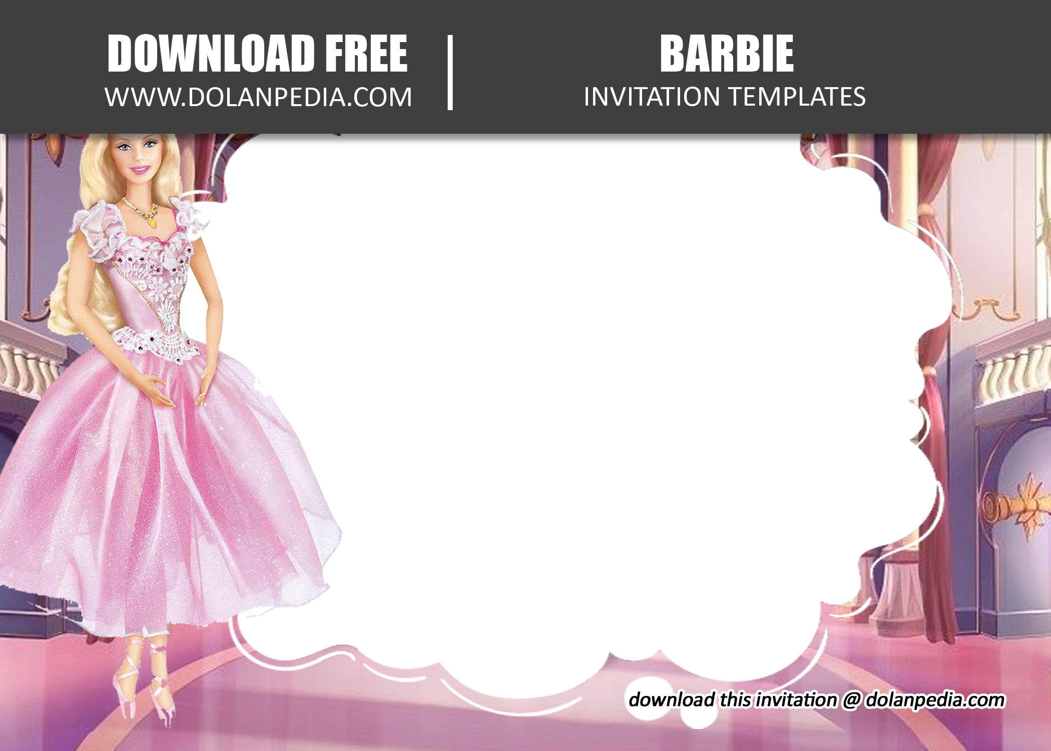 free printable barbie invitation