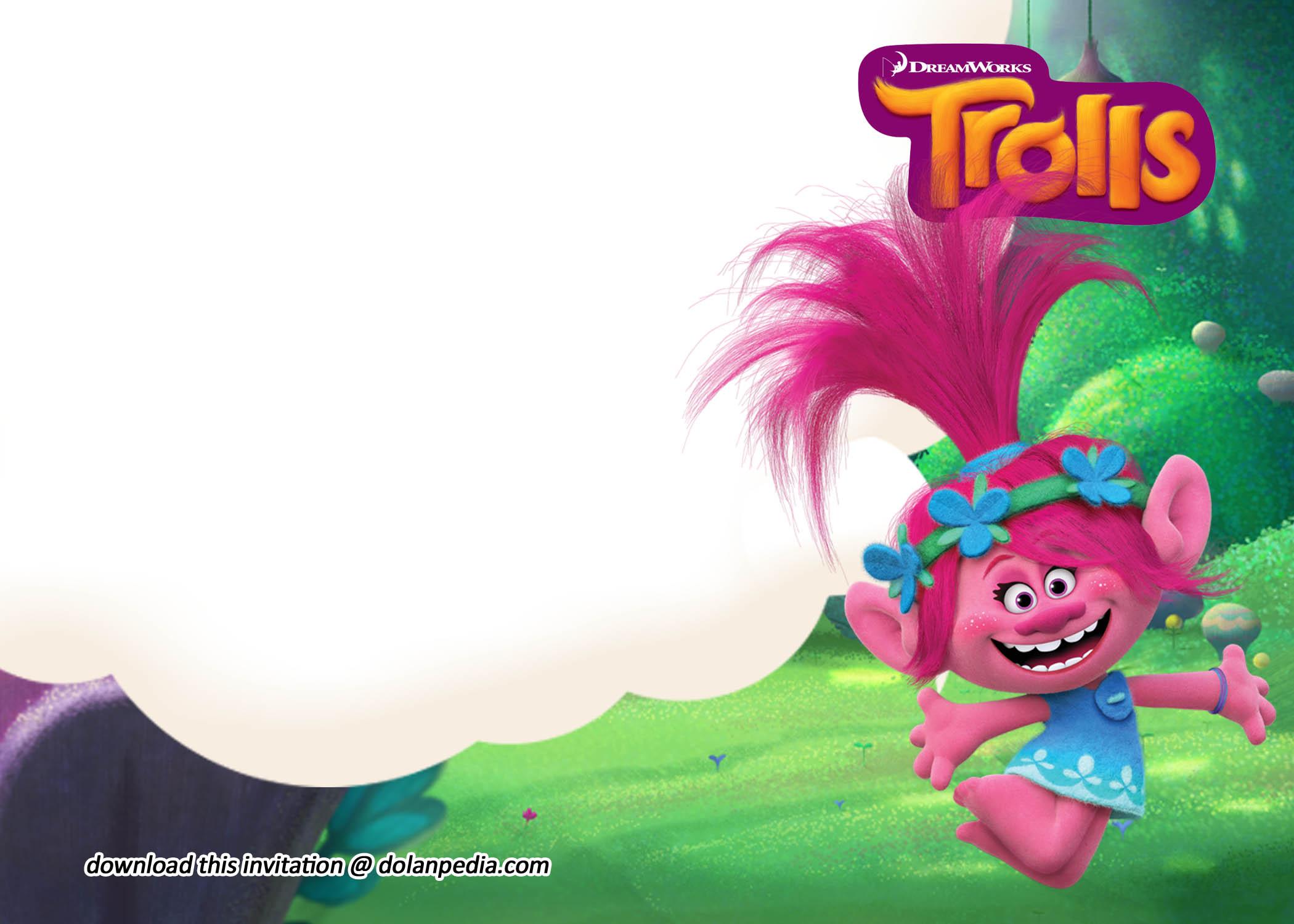 free printable cute trolls invitation