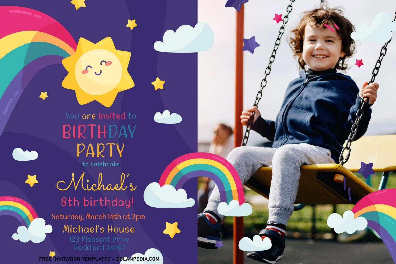 best rainbow party birthday invitation