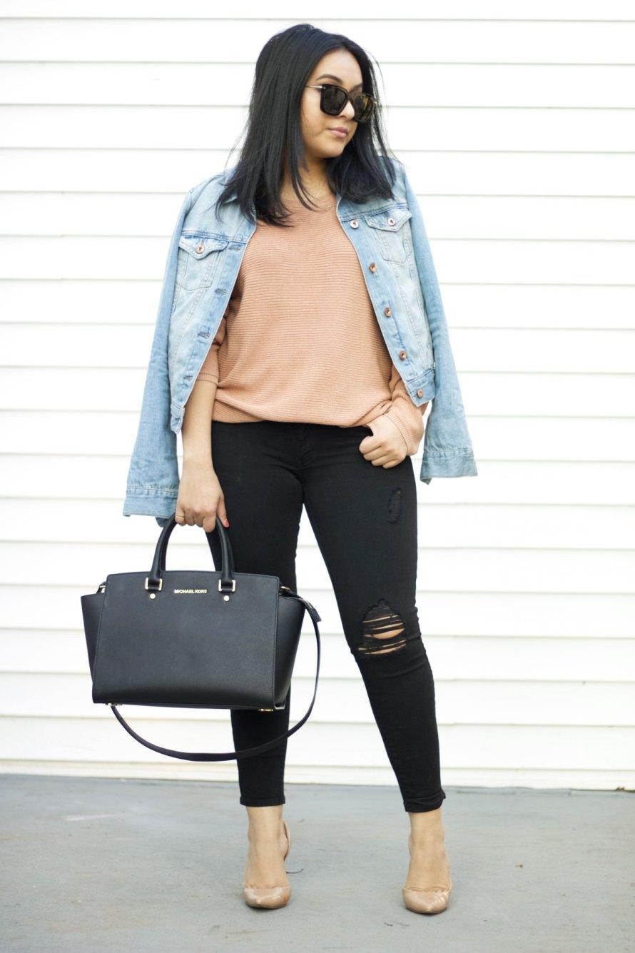 nude pink jean jacket