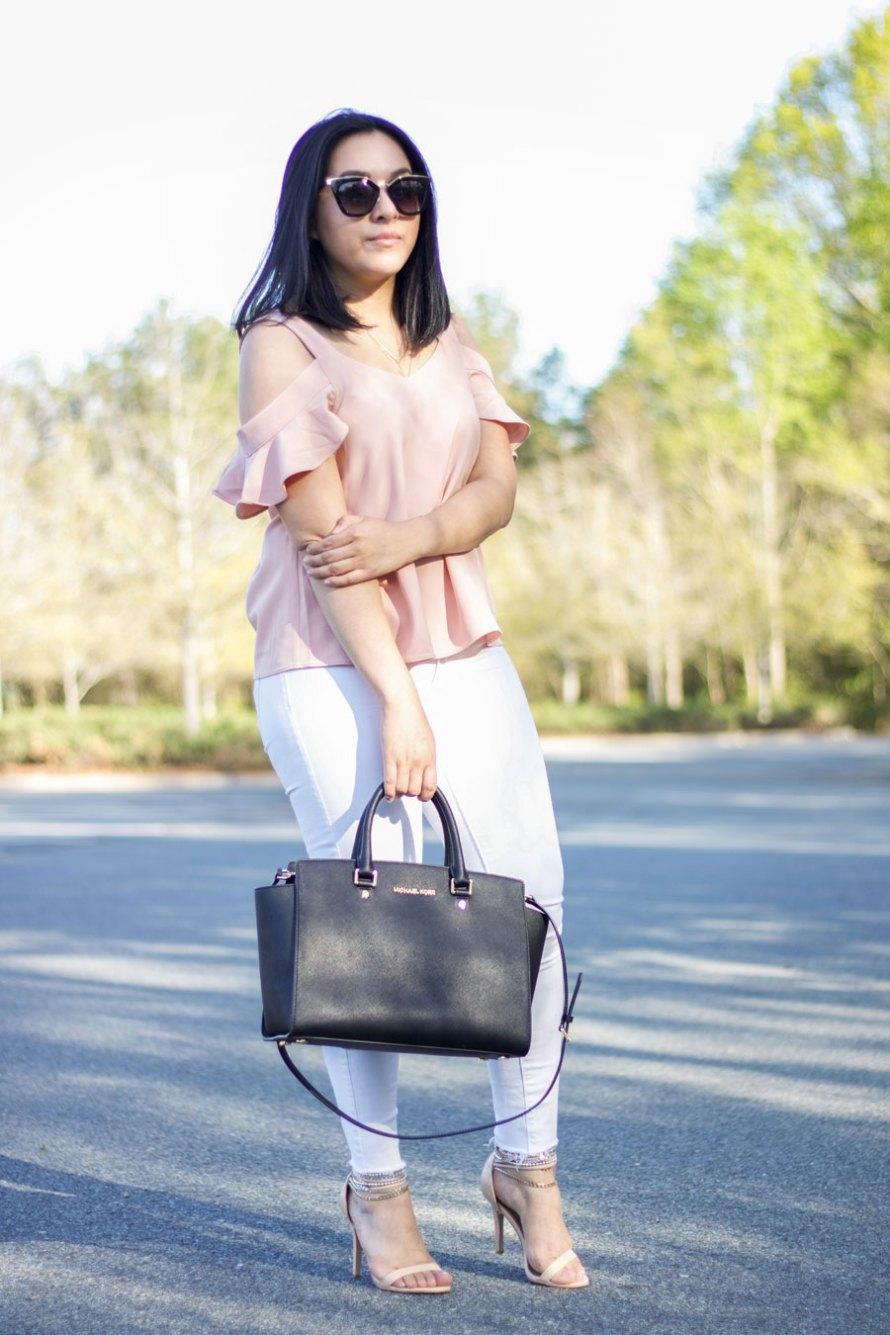 pink ruffles white pants