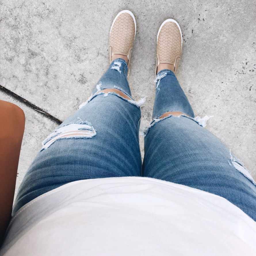 ripped denim sneakers