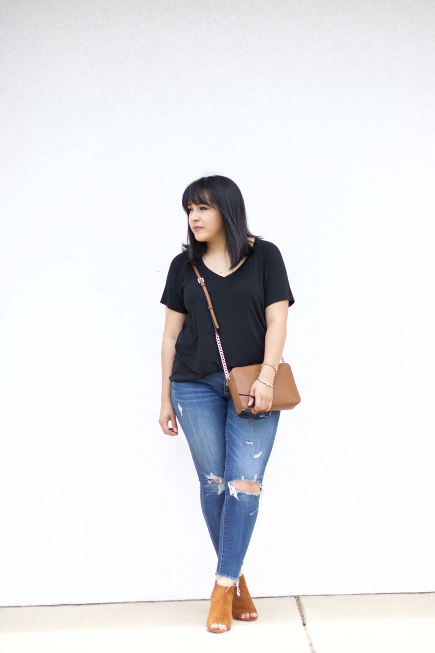 casual black T-shirt outfit