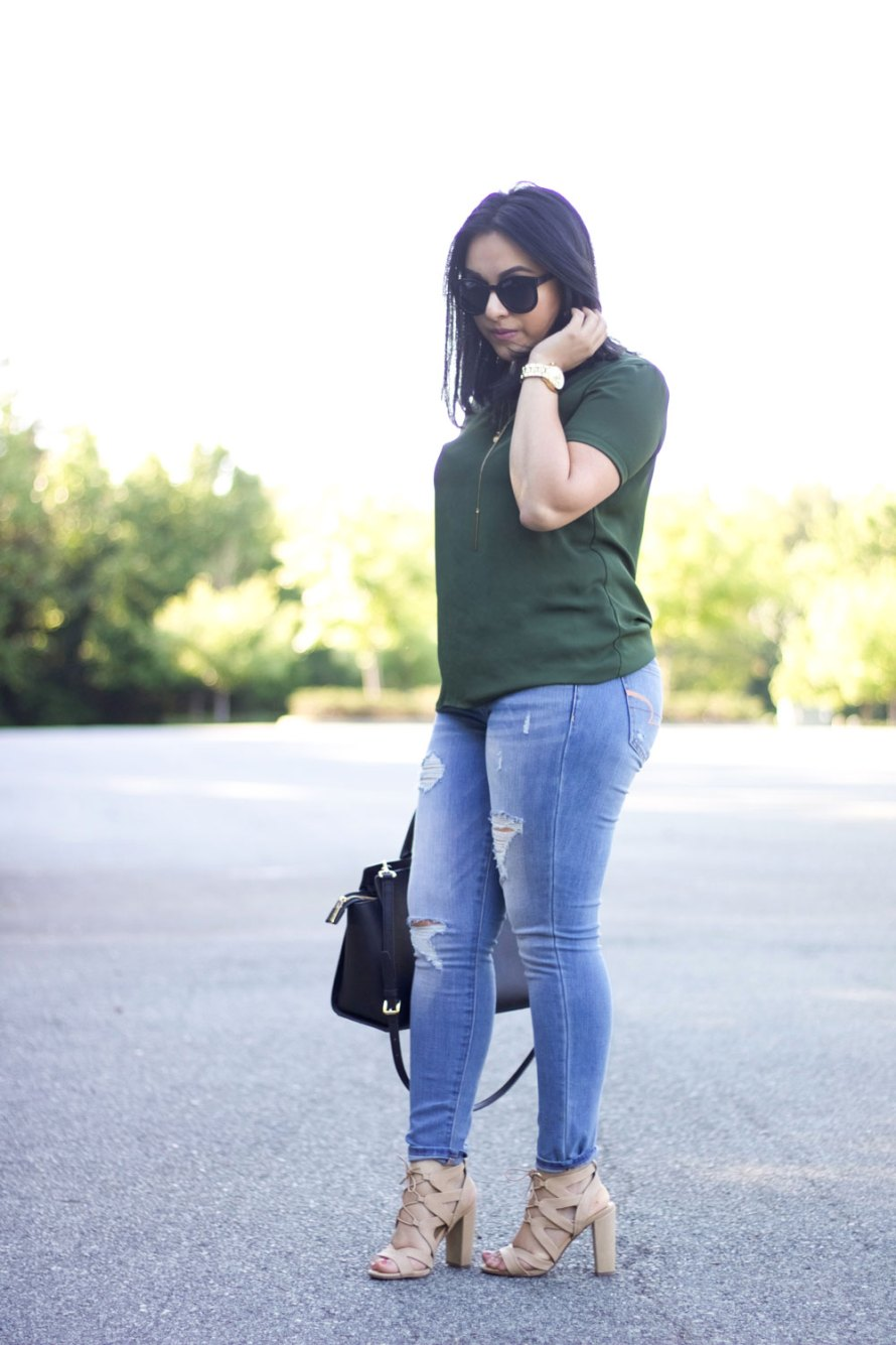 green top casual chic outfit