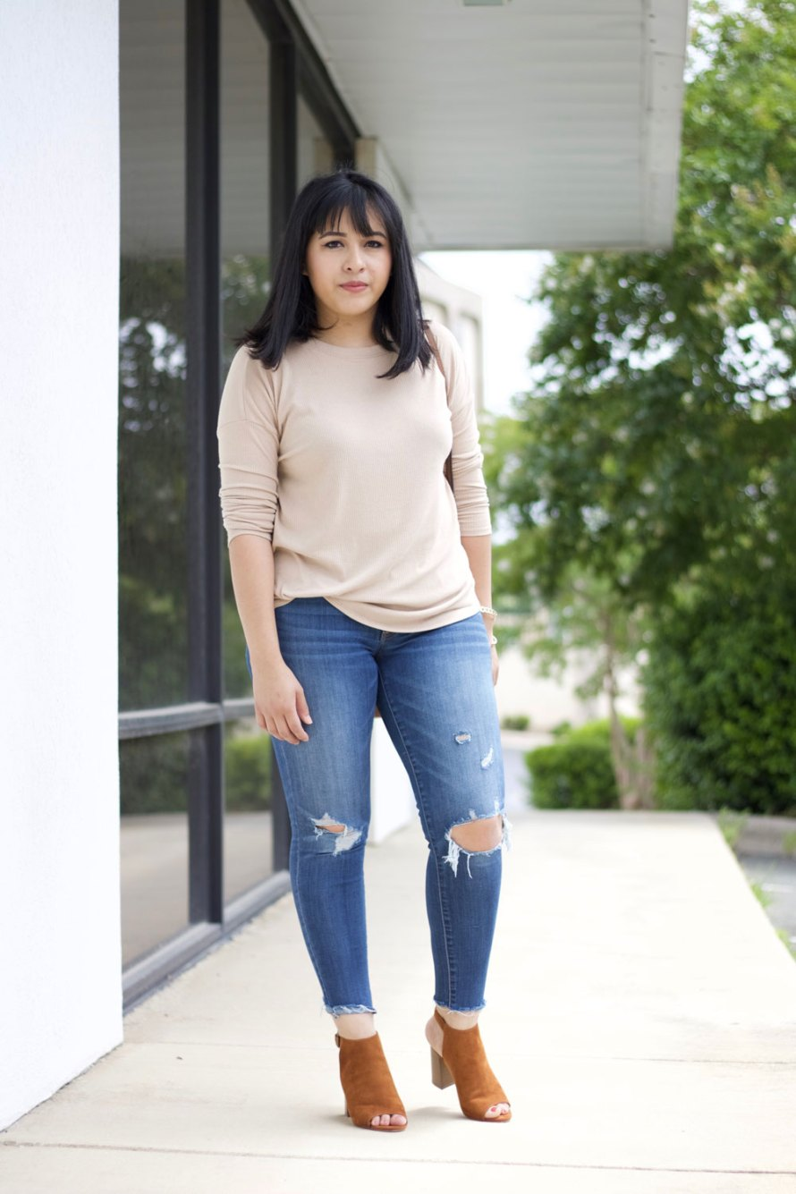 nude sweater gold details
