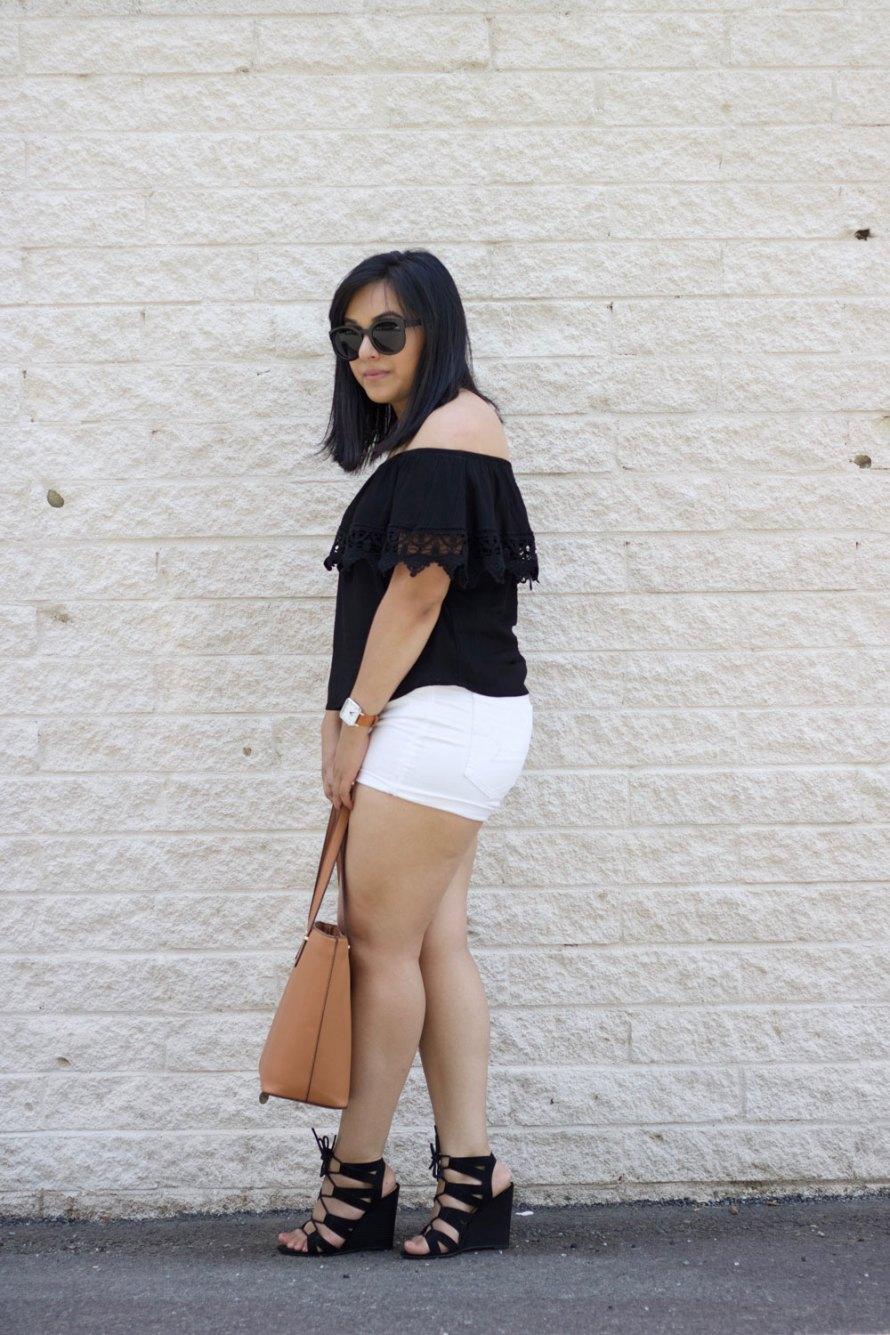 off shoulder crochet detail white shorts