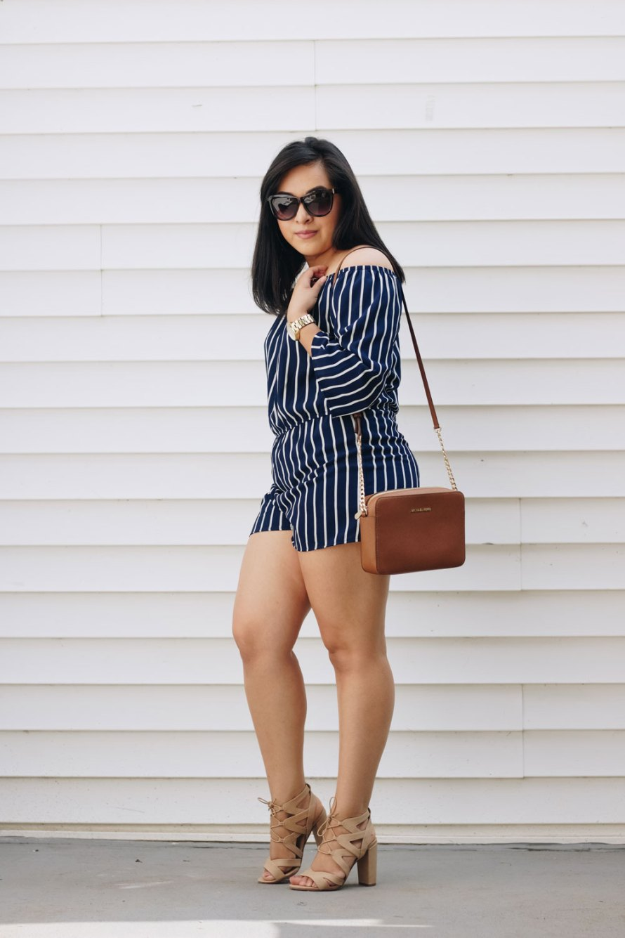striped romper affordable summer outfit