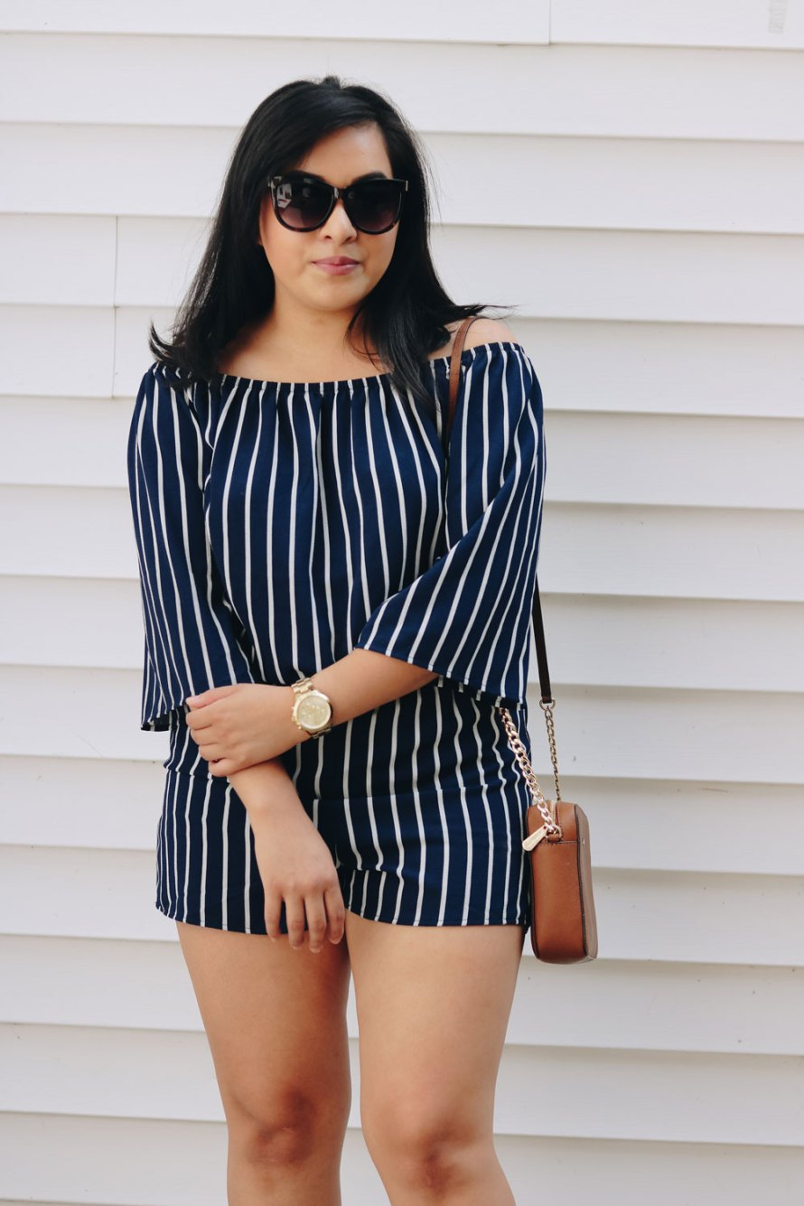striped romper nude heels summer outfit