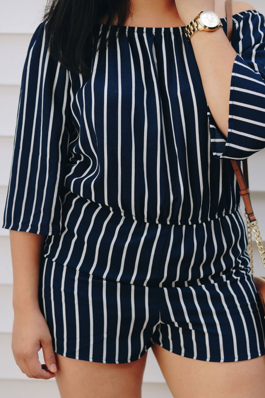 navy and blue striped romper