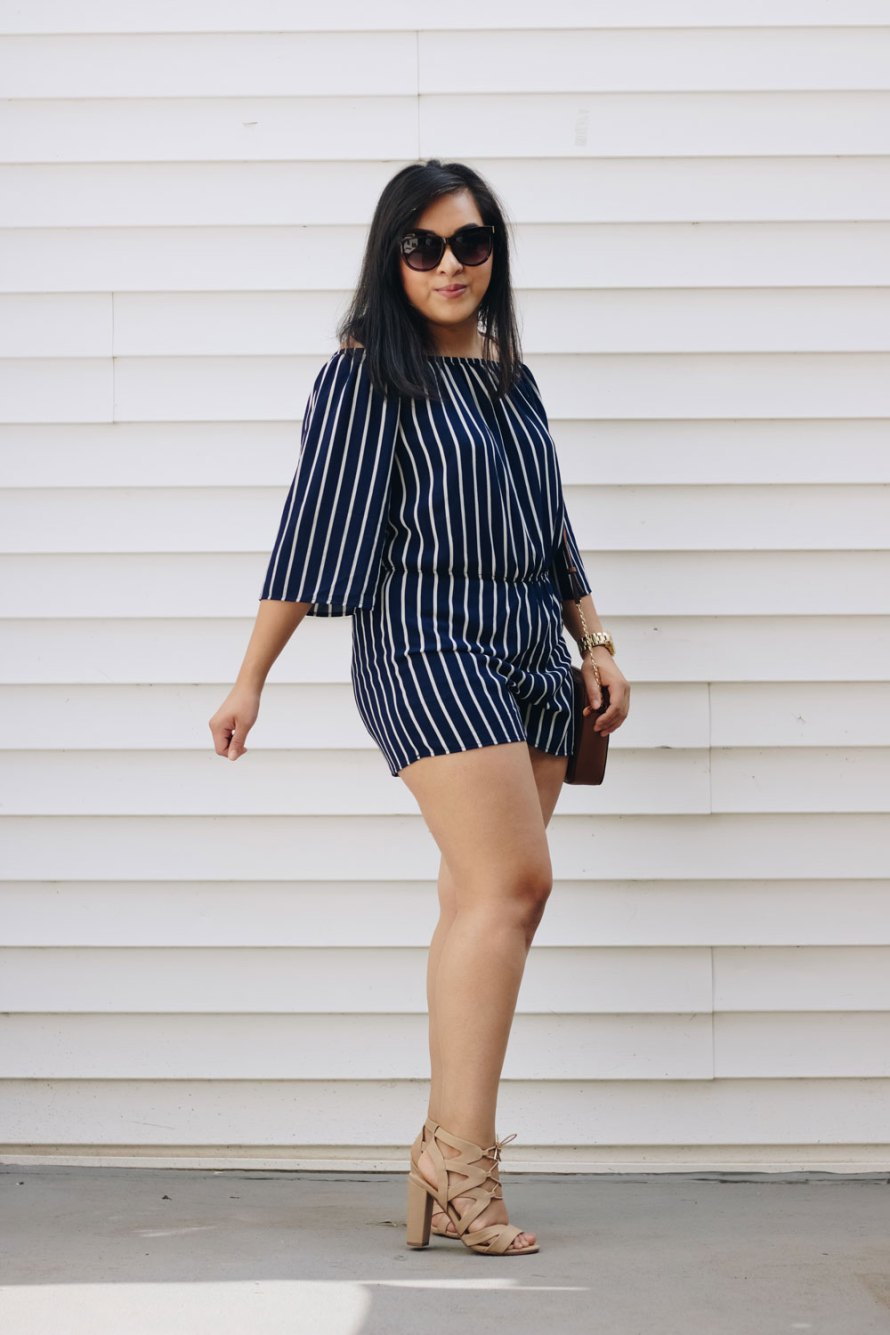 striped romper casual chic summer outfit