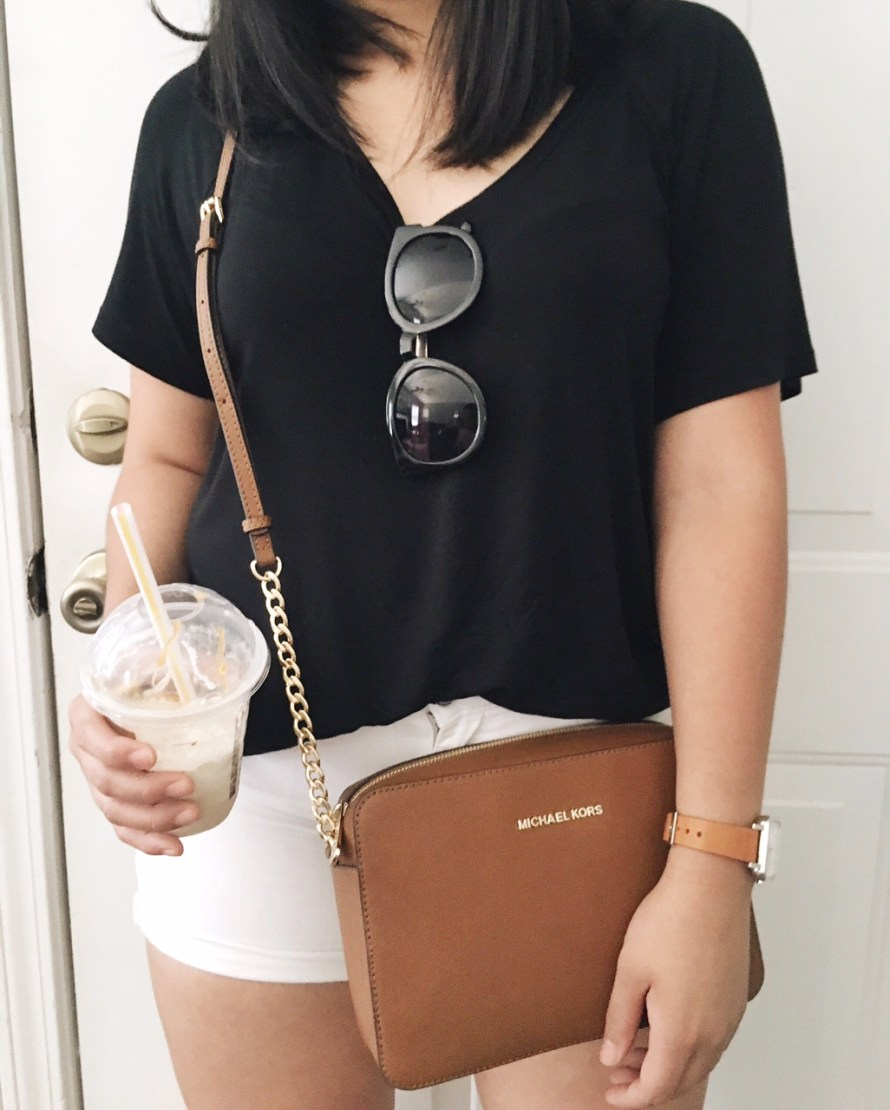 black and white outfit and coffee