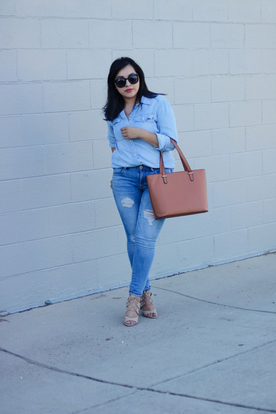 denim on denim casual outfit